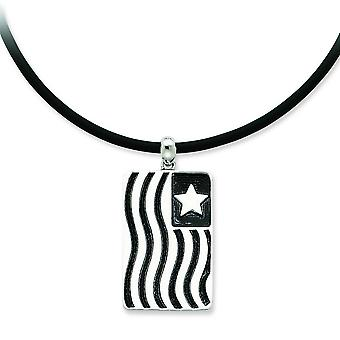 Sterling Silver Antiqued Waves Of Pride 22inch Rubber Cord With 2in ext Necklace - 8.1 Grams