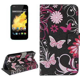 Mobile case bag for mobile WIKO sunset Butterfly pink