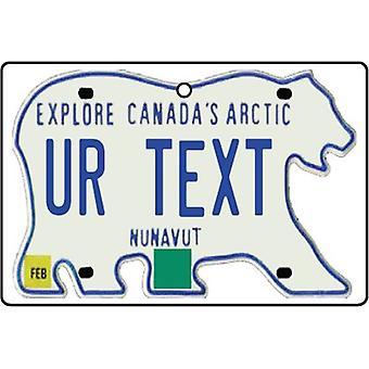 Ambientador de aire del coche matrícula personalizada de Nunavut