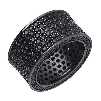 Iced out bling micro pave ring - ronde 12mm zwart