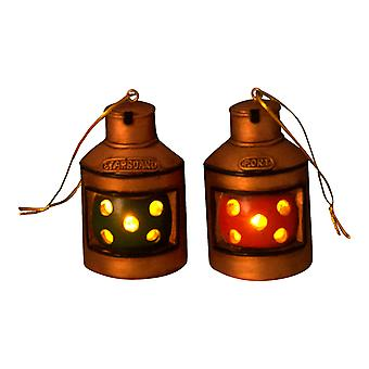 Beachcombers Boater Red Green Port Starboard Lantern Ornaments Light Up Set of 2