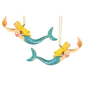 Coastal Blonde Swimming Mermaid 6 Inch Christmas Holiday Ornaments Set of 2