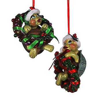 Turtles in Wreaths Christmas Holiday Ornaments Set of 2 Katherines Collection