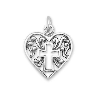 Sterling Silber Herz Charme mit Kreuz Umriss Maßnahmen 16mm Durchmesser