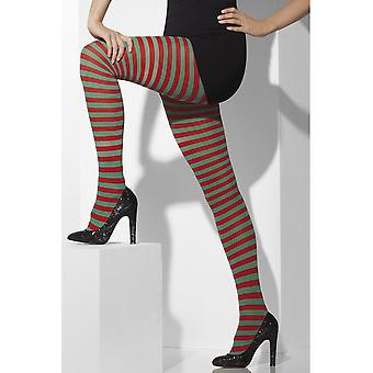 Smiffys Striped Tights Ideal for Christmas Novely Fancy Dress Red & Green Adult Size