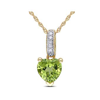 Peridot Heart Pendant Necklace with Diamonds 4/5 Carat (ctw) in 10K Yellow Gold with chain