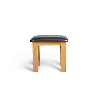 Direct Home Living Sasso Oak Stool With Faux Leather Cushion