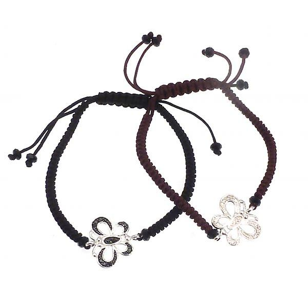 W.A.T Macramed Cord Friendship Bracelet With Sterling Silver Butterfly
