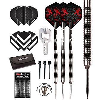 Red Dragon Double Agent: 20g - 90% Tungsten Steel Darts with Hardcore Flights, Shafts, Wallet & Red Dragon Checkout Card