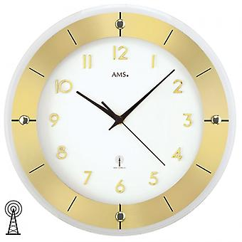 Radio controlled wall clock brass lacquered faceted mineral glass wall clock