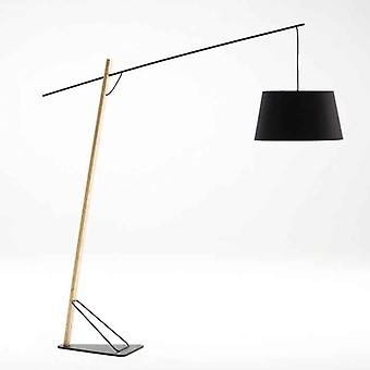 Wellindal Floor Lamp 216x55x230 Wood and Black Metal With Screen