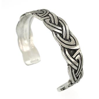 Handmade Celtic Double Interlace Pewter Cuff Bracelet (Adjustable)