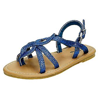 Girls Cutie Woven Glitter Toe Post Sandals