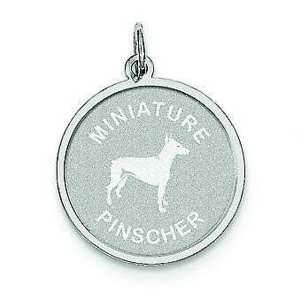Sterling Silber solide facettierten Schlossdrücker Laser geätzt Mini Childrenature Pinscher Disc Charme