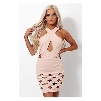 The Fashion Bible Laser Cut Nude Bandage Dress