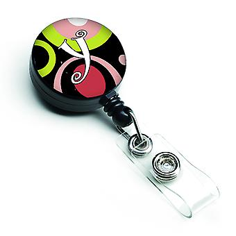 Letter Y Monogram - Retro in zwart intrekbare Badge Reel