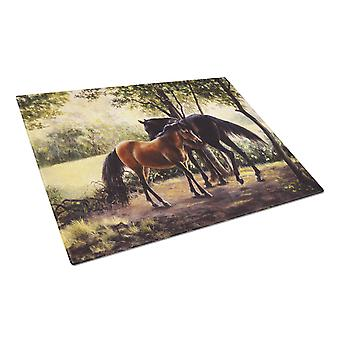 Horses by Daphne Baxter Glass Cutting Board Large