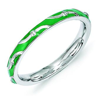 2.5mm Sterling Silver Stackable Expressions Green Enamel Ring - Ring Size: 5 to 10
