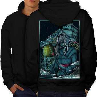 Katana Girl Japan Men BlackHoodie Back | Wellcoda