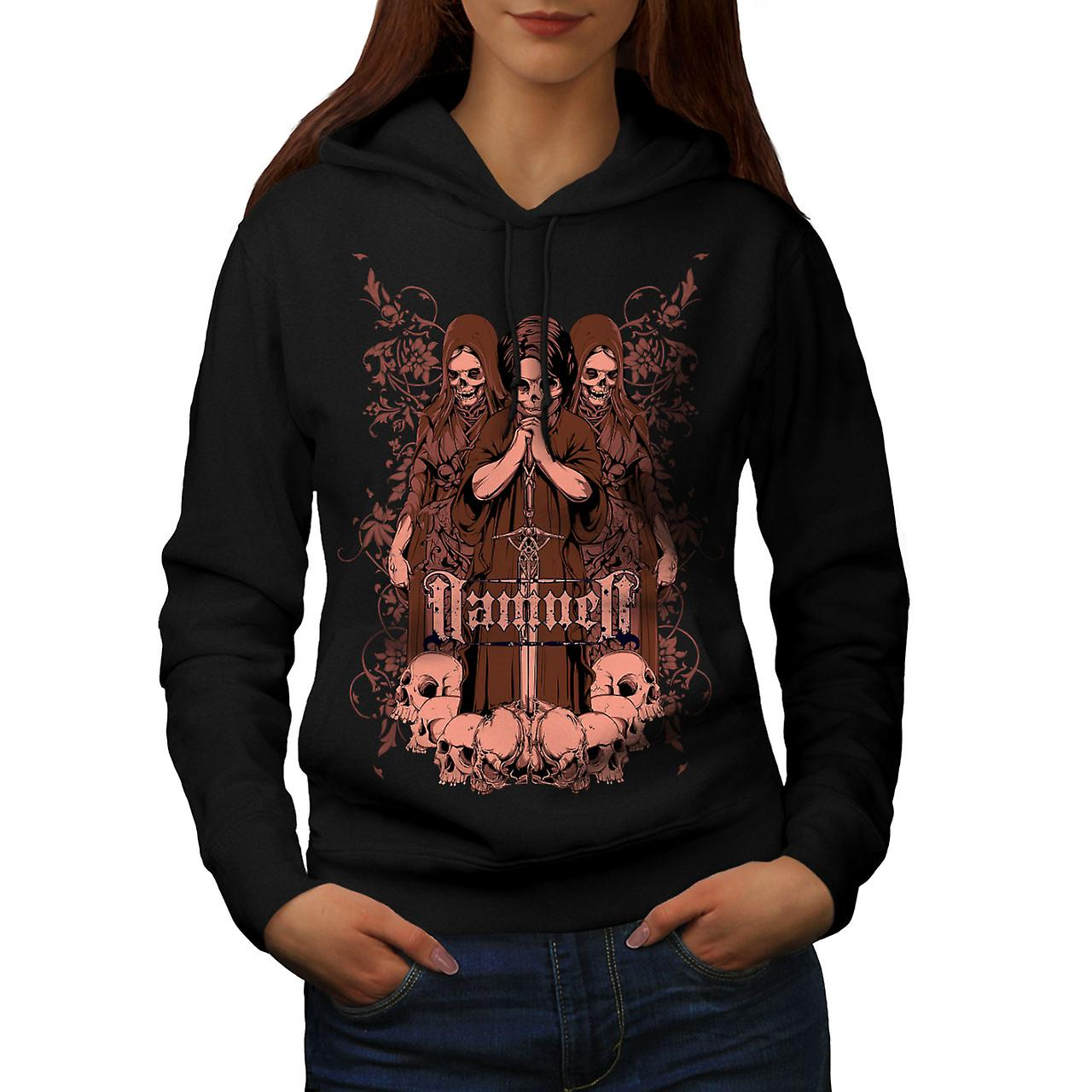 Damned Saint Horror Skull Women Black Hoodie | Wellcoda