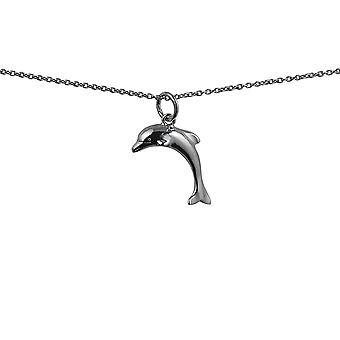Silver 19x15mm domed Dolphin Pendant with rolo Chain 14 inches Only Suitable for Children