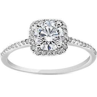 G/SI .85 CT Cushion Halo Diamond Engagement Ring 14k White Gold Enhanced