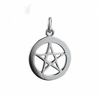 Silver 19mm plain Pentangle in circle Pendant