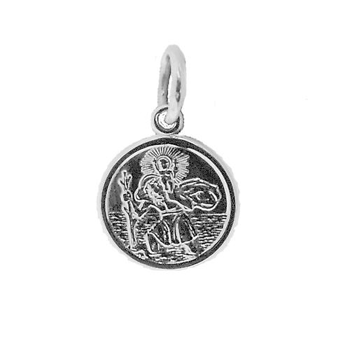 Silver 10mm round St Christoper Pendant Only Suitable for Children