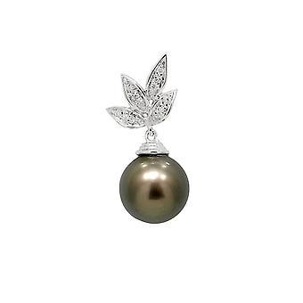 Diamonds, Tahitian Pearl pendant and white 750/1000 gold