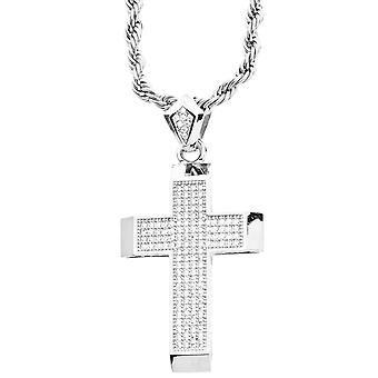 Iced out bling micro pave cross pendant - silver