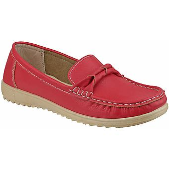 Amblers Ladies Paros Slip On Moccasin Style Smart Casual Shoe Red