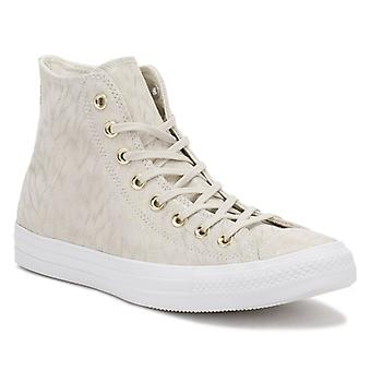 Converse All Star Chuck Taylor Womens Beige Shimmer Suede Trainers