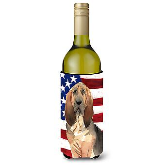 Patriotic USA Bloodhound Wine Bottle Beverge Insulator Hugger