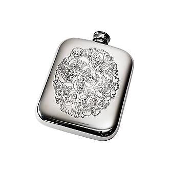 6Oz Skull Heart Cluster Pewter Pocket Flask