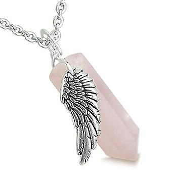 Amulet Angel Wing Magic Crystal Point Rose Quartz Healing Spiritual Energy Pendant Necklace