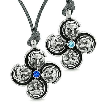 Supernatural Courage Wolf Amulets Love Couples Best Friends Sky Blue Crystals Adjustable Necklaces