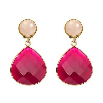 GEMSHINE earrings or earrings with Rose Quartz and Red rubies drops. High-quality gold-plated gemstone earrings. Made in Munich, Germany. Delivered in the elegant jewelry.