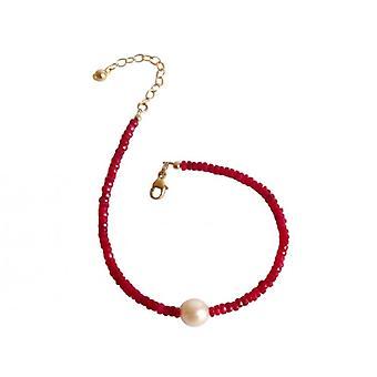 Rubí y Perla pulsera de oro plateado elegante pulsera rubí