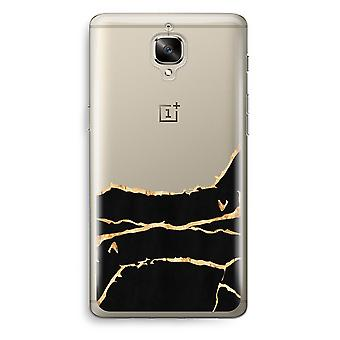 OnePlus 3T Transparent Case (Soft) - Gold marble