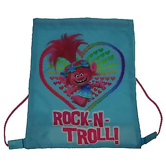 Girls Trolls Drawstring Sports Trainer Bag Aqua 1.3 Litres