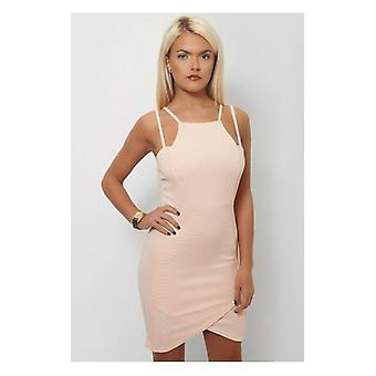 The Fashion Bible Mia Nude Strappy Bodycon Dress