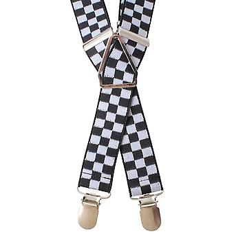 Knightsbridge Neckwear Checks Clip Braces - Black/White