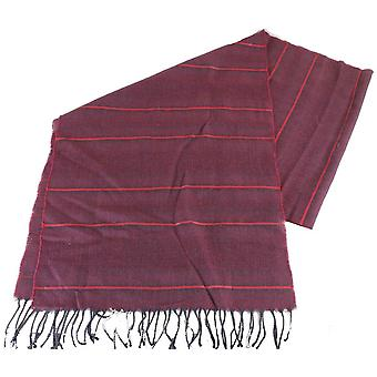 Bassin and Brown Charles Horizontal Striped Wool Scarf - Wine