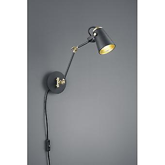 Trio Lighting Edward Modern Black Matt Metal Wall Lamp