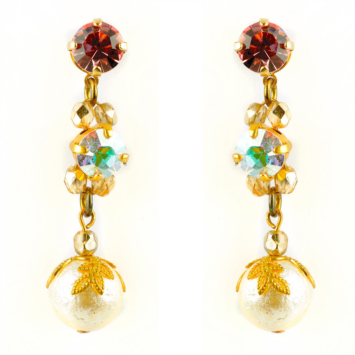Waooh - Fashion Jewellery - WJ0701 - On Earrings with Swarovski Red and Gold - Frame Colour Gold - Gold color beads
