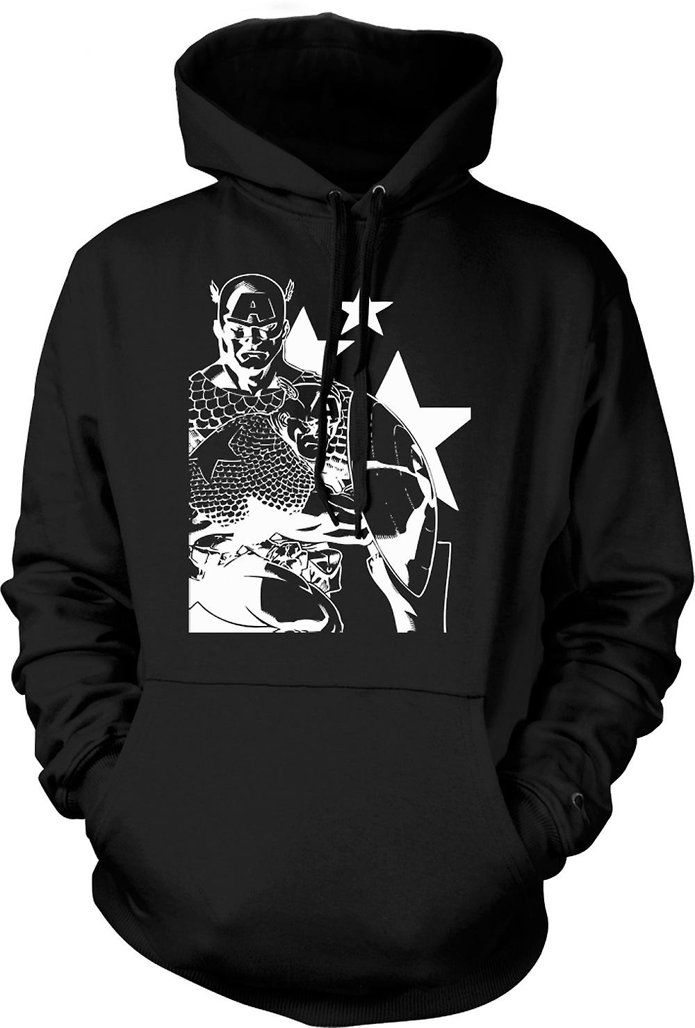 Mens Hoodie - Captain America avec écusson - Superhero