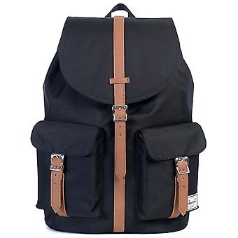 Herschel Black-Tan Synthetic Leather Dawson - 20.5 Litre Backpack