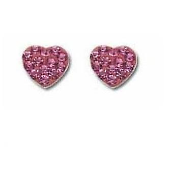 TOC Girls Sterling Silver Pink Rhinestone Set Heart Stud Earrings
