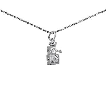 Silver 14x10mm Jack in the Box Pendant with a 1mm wide rolo Chain 14 inches Only Suitable for Children