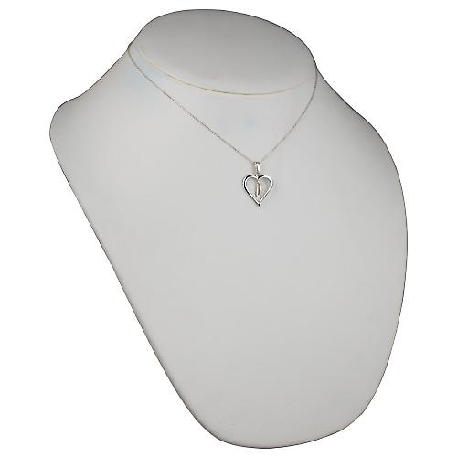 Silver 18x18mm initial U in a heart Pendant with a rolo Chain 16 inch Only Suitable for Children